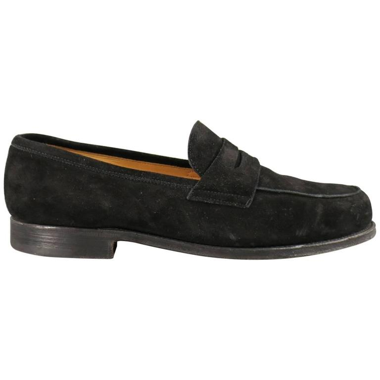 Men's JOHN LOBB Size 8.5 Black Suede CAMPUS Loafers