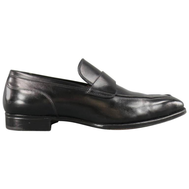 Men's GRAVATI Size 8 Black Leather Strap Loafers