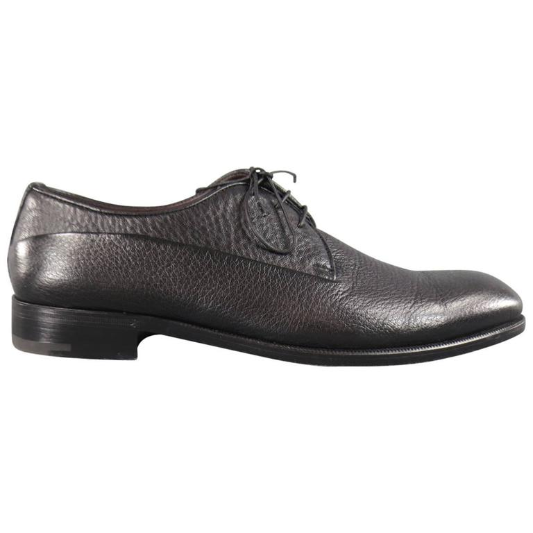 Men's ERMENEGILDO ZEGNA Size 8 Black Pebbled Leather Lace Up