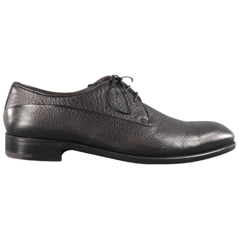 Men's ERMENEGILDO ZEGNA Size 8 Black Pebbled Leather Lace Up 1