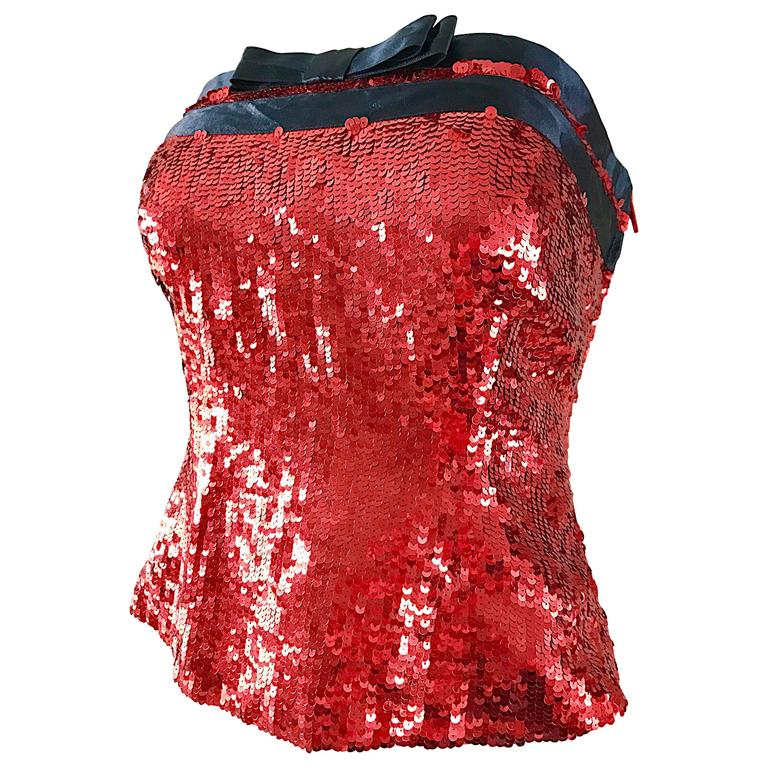 1990s Bill Blass NWT Red Sequin + Black Bow Strapless Bustier Vintage Corset Top