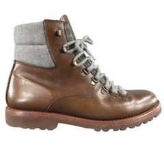 Men's BRUNELLO CUCINELLI Size 10 Brown Leather Gray Padded Ankle Hiking Boots