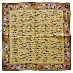 Emilio Pucci Vintage Abstract Print Small Silk Scarf 16.5 x 16