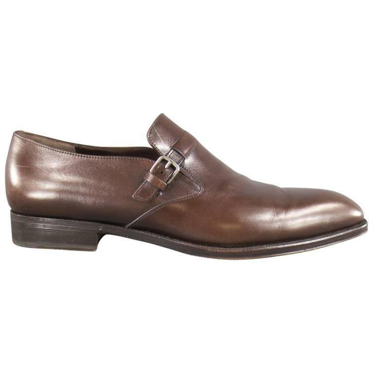Men's SALVATORE FERRAGAMO Size 8.5 Brown Leather Monk Strap Loafers 1