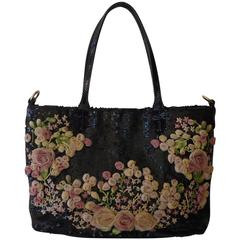 Valentino Floral Sequin Tote Bag w/Dust Bag