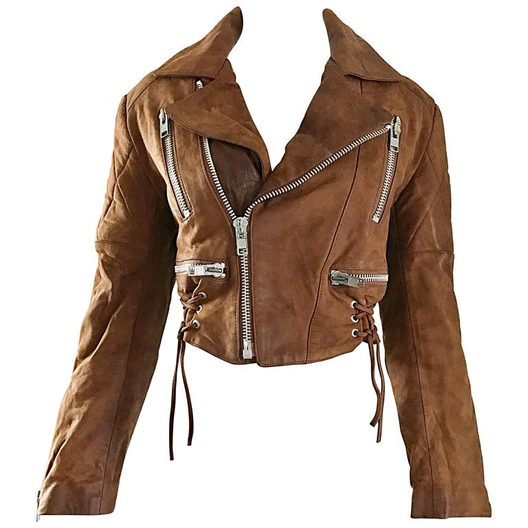 1990s Michael Hoban for North Beach Leather Brown Vintage Cropped Moto Jacket