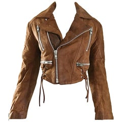 1980s Michael Hoban for North Beach Leather Brown Vintage 80s Moto Jacket