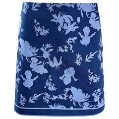 New Michael Kors Collection Size 8 Navy + Light Blue Nautical Cotton Mini Skirt