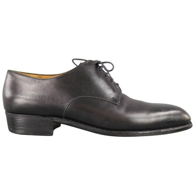 Men's J.M. WESTON Size 7 Black Leather Wingtip Lace Up