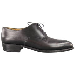 Men's J.M. WESTON Dress Shoe -  Size 7 Black Leather Wingtip Lace Up Shoes