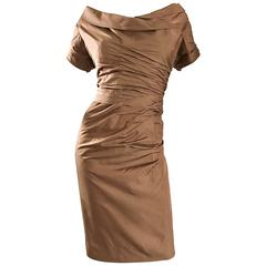 50s Ceil Chapman Plus Size Peanut Light Brown Silk Taffeta Vintage Wiggle Dress