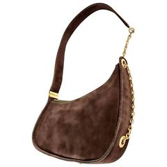 1950s Koret Chocolate Brown Suede Leather Avant Garde Handbag Gold Chain Purse