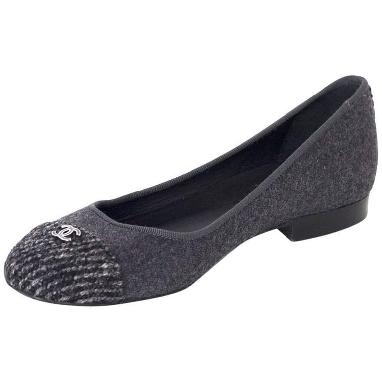 Chanel Grey Felted Ballet Flats sz 37 1