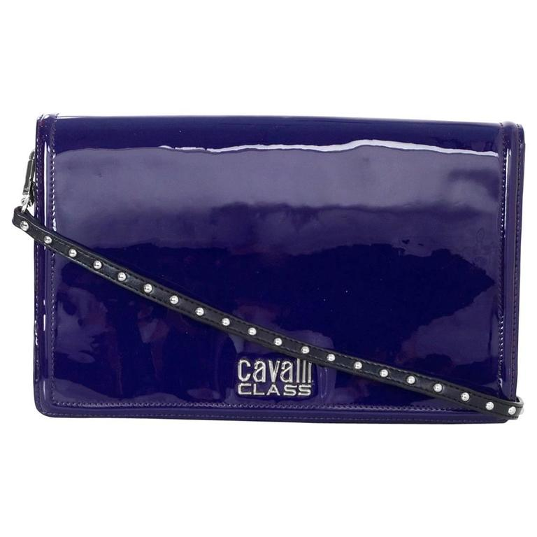 Roberto Cavalli Class Purple Patent Clutch/Shoulder Bag SHW For Sale