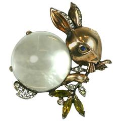 Trifari Alfred Philippe Jelly Belly Rabbit Brooch