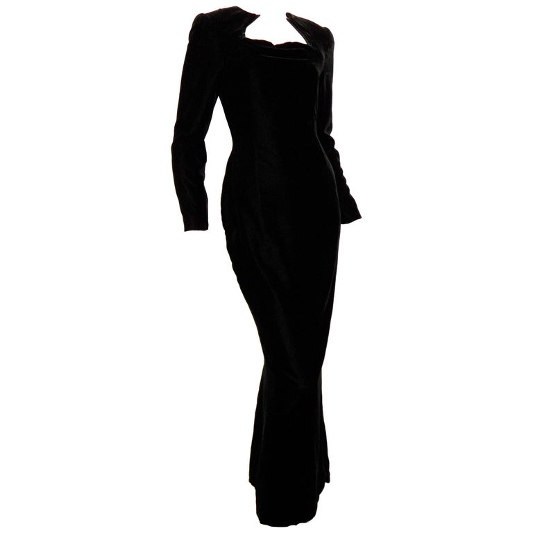 Rare Galanos Black Silk Velvet Evening Gown with Sculptural Collar Sz S