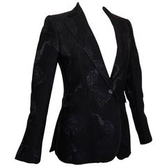 Costume National Black Wool Jacket with Embroidered Peacock Motif Size 42