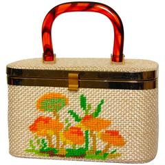 Unique Box Handbag with Embroidery and Tortoise Handle 1960s JL Bags Florida