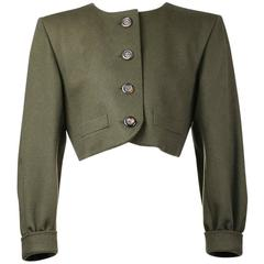 Yves Saint Laurent Olive Wool Jacket circa 1980s