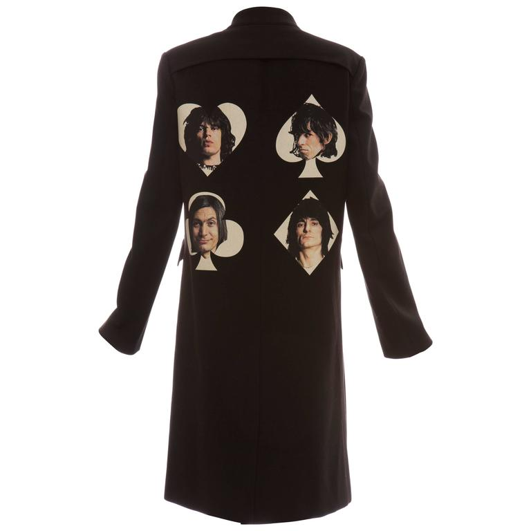 Undercover By Jun Takahashi Black Coat With Rolling Stones Print, Spring 2016 For Sale