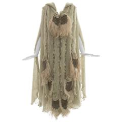 Diana Leslie For Animal Rainbow Sage Green Hooded Mohair Cape, Circa 1980's