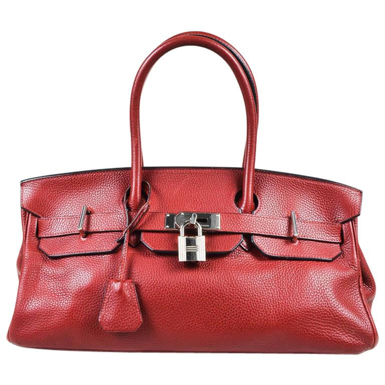 "Hermes Burgundy Red Leather Palladium Top Handle ""JPG Birkin 42"" Bag 1"