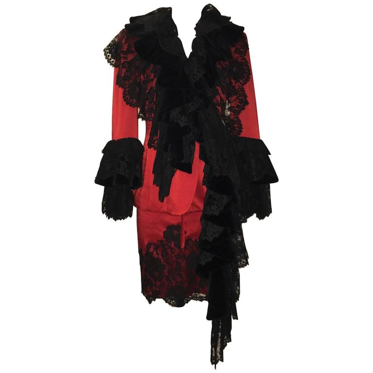Moschino Couture 1990s Red Skirt Jacket Suit with Velvet and Lace Ruffle Flounce 1