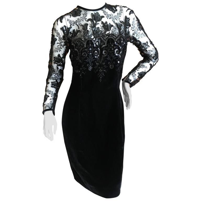 Oscar de la Renta Vintage Velvet Cocktail Dress with Sequin Lace Details For Sale