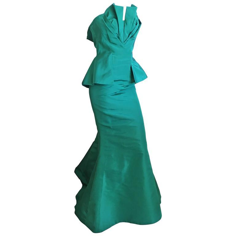 Oscar de la Renta Strapless Emerald Green Taffeta Mermaid Gown 1