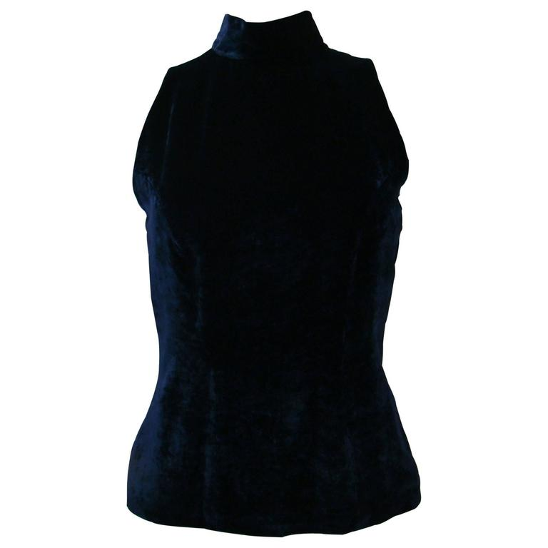 Angelo Mozzillo Navy Blue Velvet Sleeveless Top 1