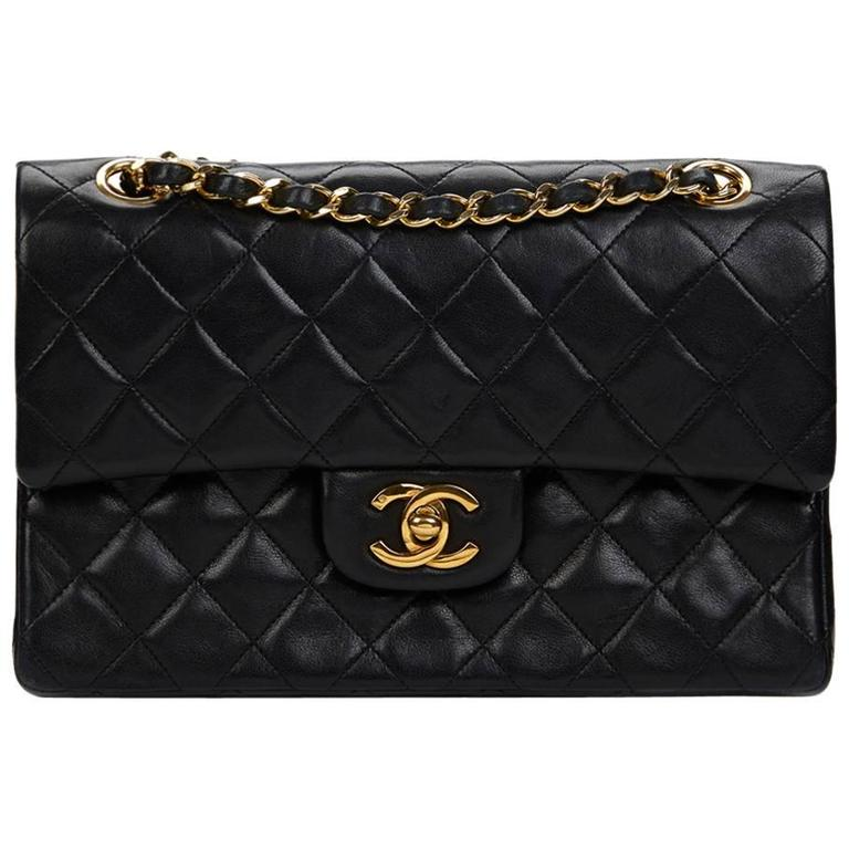 1980s Chanel Black Quilted Lambskin Vintage Small Classic Double Flap Bag 1