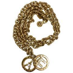 Vintage CELINE golden Eiffel tower and Triumphal arch pendant top chain necklace