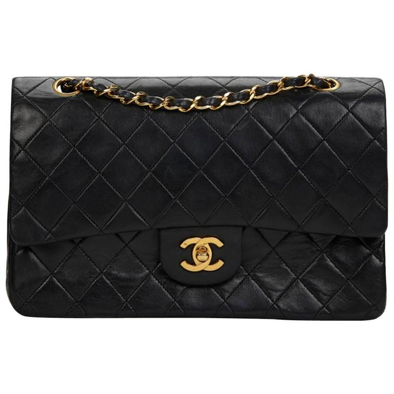 Chanel Black Quilted Lambskin Vintage Medium Classic Double Flap Bag 1980s  For Sale