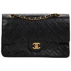 Chanel Black Quilted Lambskin Vintage Medium Classic Double Flap Bag 1980s