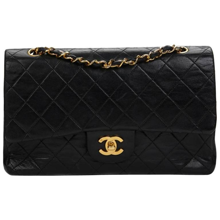 1990s Chanel Black Quilted Lambskin Vintage Medium Classic Double Flap Bag 1