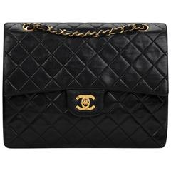 1990s Chanel Black Quilted Lambskin Vintage Medium Tall Classic Double Flap Bag