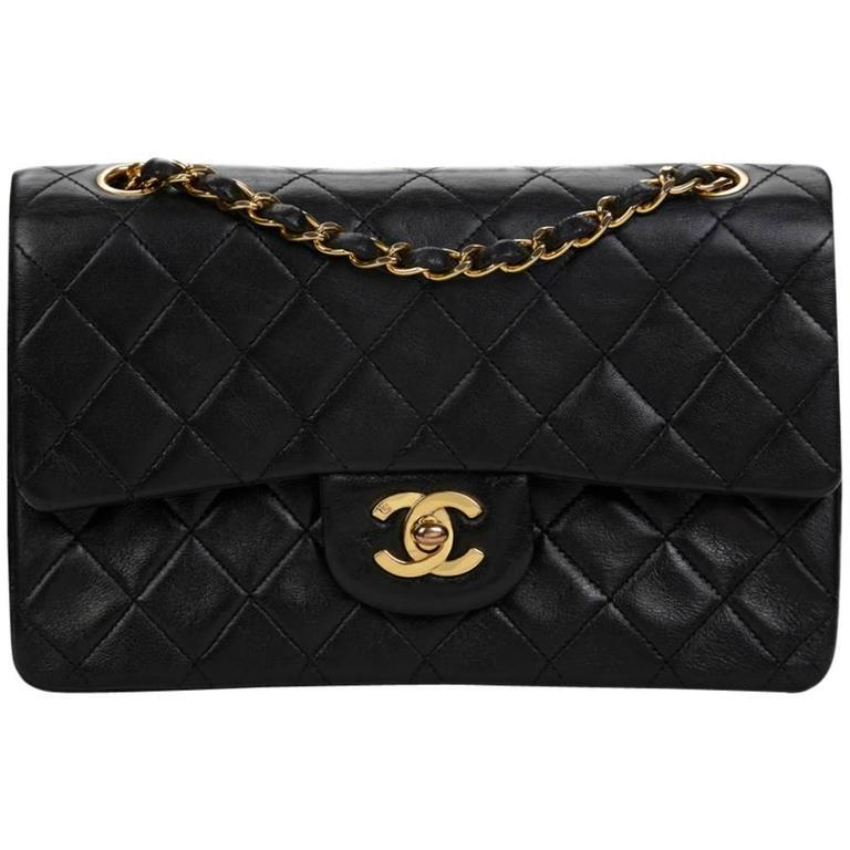 1990 Chanel Black Quilted Lambskin Vintage Small Classic Double Flap Bag For Sale