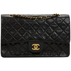 Chanel Black Quilted Lambskin Vintage Medium Classic Double Flap Bag 1990s