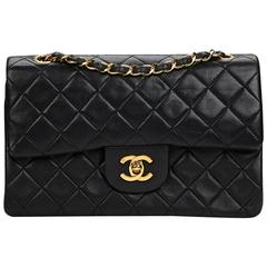 Chanel Black Quilted Lambskin Vintage Small Classic Double Flap Bag 1990s