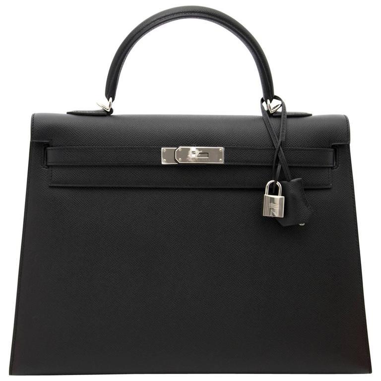 Brand New Hermes Kelly  Black  Epsom 35 PHW For Sale