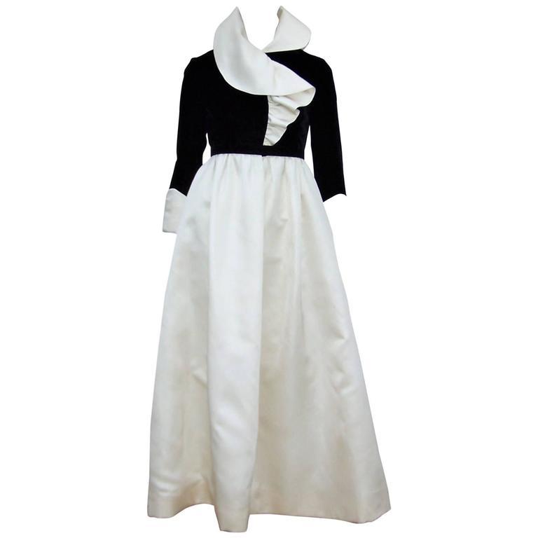 Fab 1960's Geoffrey Beene Black Velvet & Ivory Satin Evening Dress For Sale