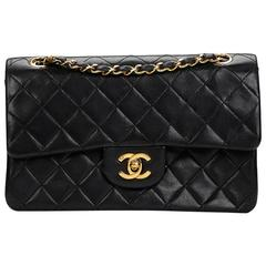 Chanel Black Quilted Lambskin Vintage Small Classic Double Flap Bag 1980s