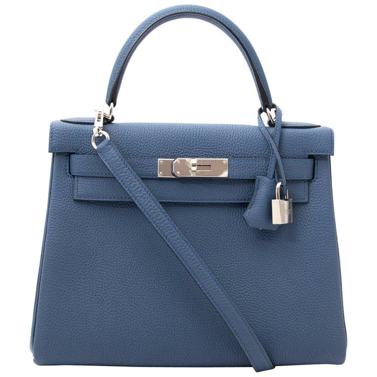 Brand New Hermes Kelly 28 Bleu Agate Togo PHW For Sale
