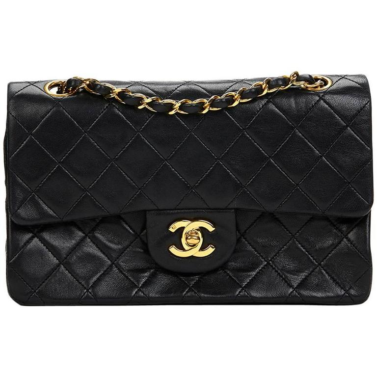 Chanel Black Quilted Lambskin Vintage Small Classic Double Flap Bag 1990s  For Sale