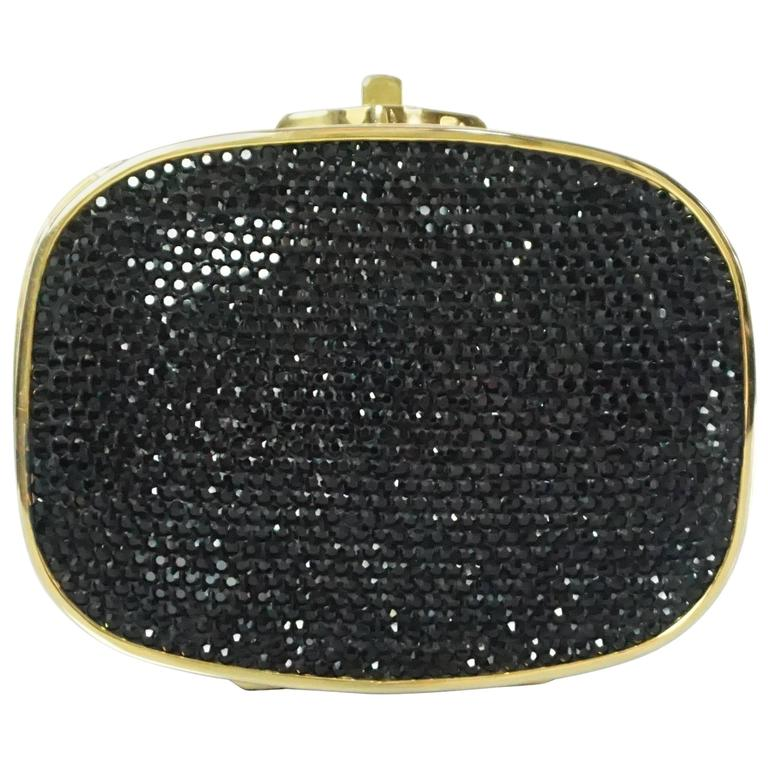 Judith Leiber Black Rhinestone and Gold Frame Small Minaudiere  1