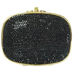 Judith Leiber Black Rhinestone and Gold Frame Small Minaudiere