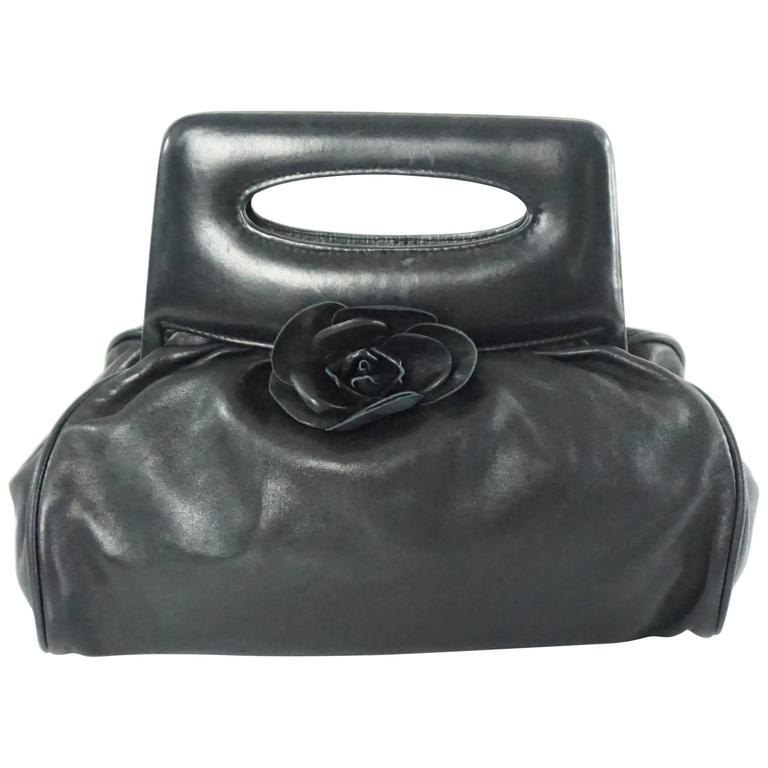 Chanel Black Lambskin Top Handle Bag with Camellia - 2003 For Sale