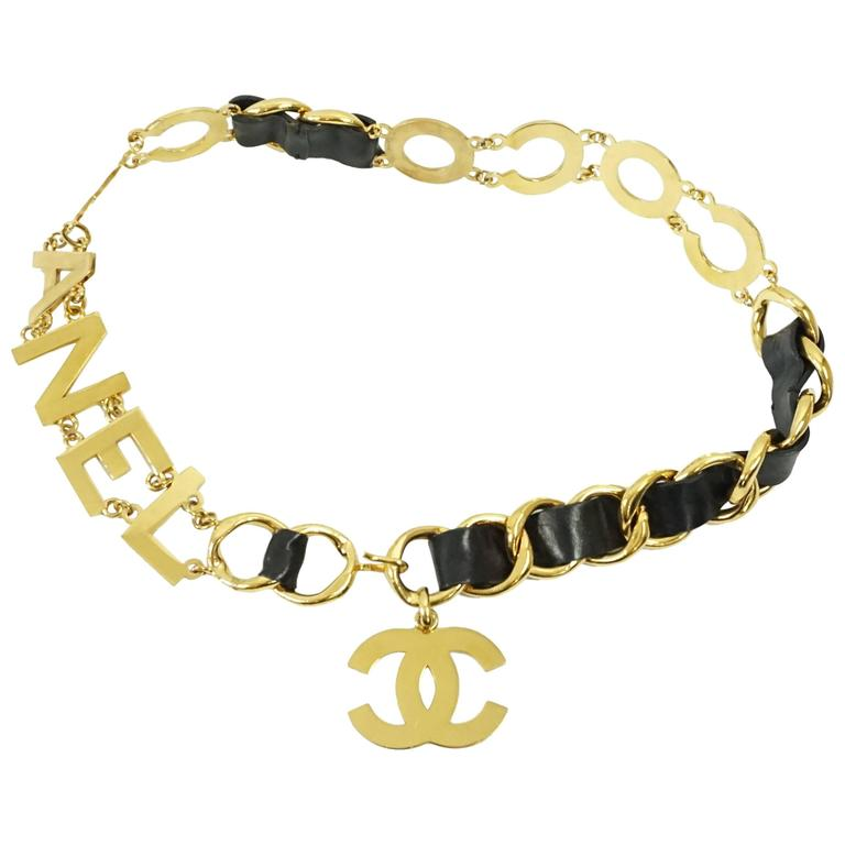 """Chanel Black Leather and Goldtone """"Coco Chanel"""" Belt with Hanging CC-circa 92"""