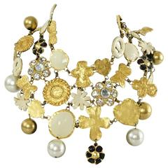 Christian Lacroix Runway Gold and Ivory Bib Necklace - Circa 80's