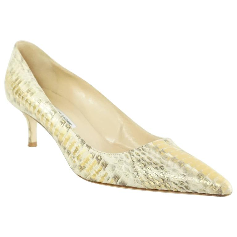 42568d16a87 Manolo Blahnik Gold Python Pointed Toe Pumps and kitten heel- 38 For Sale